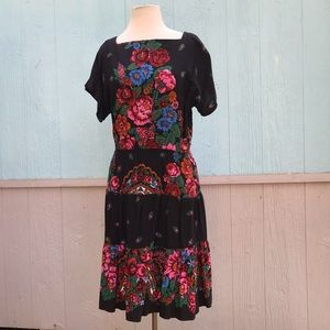 Vintage 80s Molly Ringwald drop waist floral dress